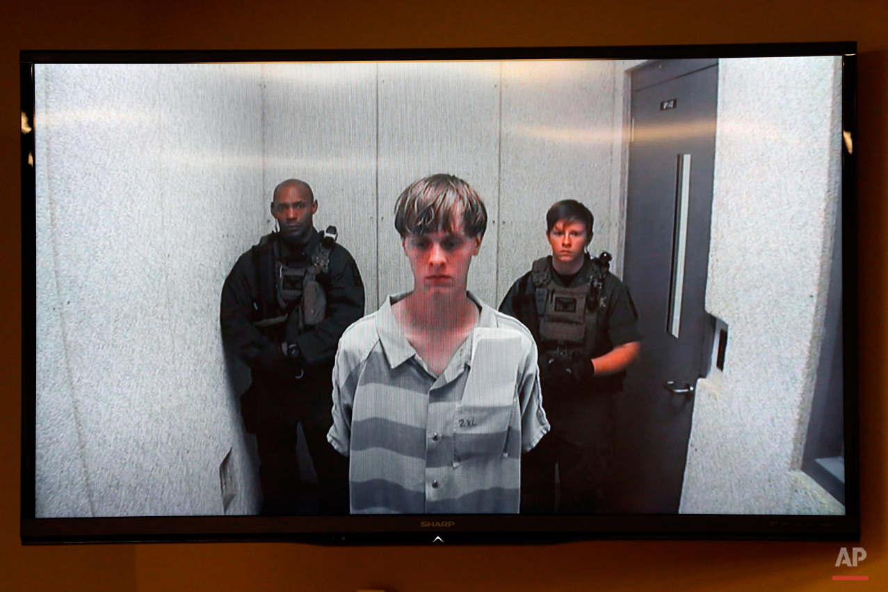 Dylann Roof appears at a bond hearing court in North Charleston, S.C., June 19, 2015. Roof is accused of killing nine people inside Emanuel African Methodist Episcopal Church in Charleston on June 17. (Grace Beahm/The Post And Courier via AP)
