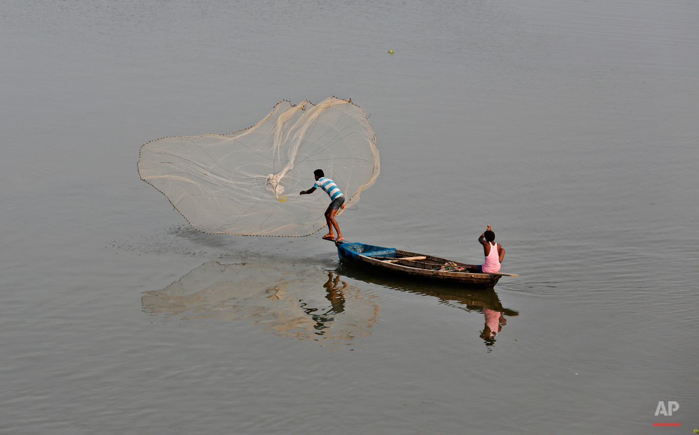 In this Aug. 7, 2015 photo, an Indian fisherman throws a fishing net into the Gomti River in Lucknow, India. It is considered auspicious to take a dip in the waters of the River Gomti so as to rid away the sins, as per the Hindu mythology. (AP Photo/Rajesh Kumar Singh)