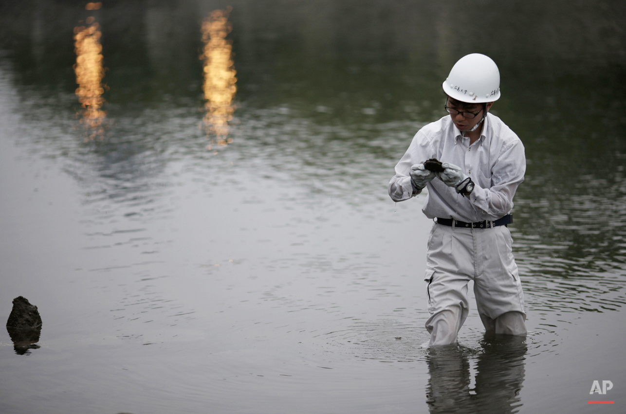 In this July 4, 2015 photo, Rebun Kayo, Hiroshima University graduate student, finds debris from the Atomic Bomb Dome, as it is known today  in the river in Hiroshima, Hiroshima Prefecture, southern Japan. Kayo has retrieved shattered bricks and stones of various sizes. A few of them are as big as a meter (3-feet) long, and had to be pulled out with a machine. Many are the size of his palm. Shells have attached to them after decades in the river. Studying inside the normally off-limits dome, he found that about 1,000 pieces matched the material and structure of the dome. (AP Photo/Eugene Hoshiko)