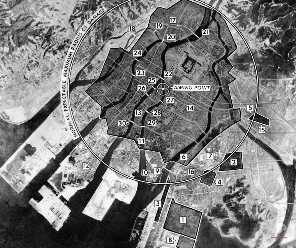 This photo-diagram, based on diagram issued by Army Air Force on August 9, 1945, locates areas damaged in Japanese homeland city of Hiroshima by first atomic bomb dropped by U.S. Army Air Forces. Large circle is drawn on diameter of 19,000 feet. Shaded areas indicate devastates sectors, according to information based on intelligence reports. Key to numbers, with percentage of total destruction where available: 