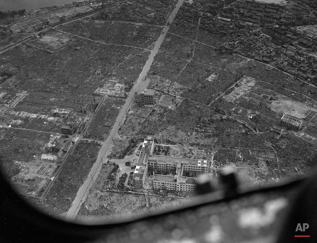 Aerial views of Hiroshima, Sept. 5, 1945, after the atomic bomb was dropped over this Japanese city on Aug. 6.  (AP Photo/Pool/Max Desfor)