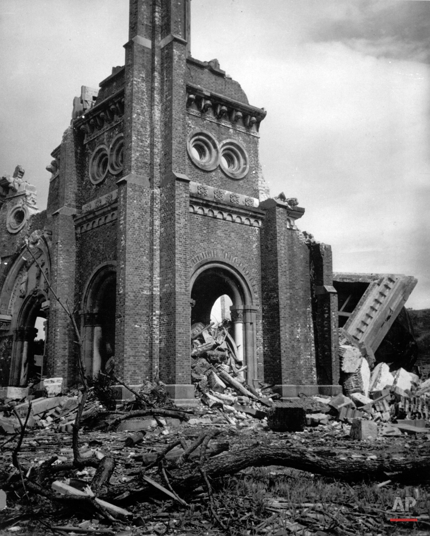 The completely destroyed Roman Catholic Church of Urakami in Nagasaki is seen in 1945, after the second atomic bomb ever used in warfare was dropped by the U.S. over the Japanese industrial center. The bombing killed more than 70,000 people instantly, with ten thousands dying later from effects of the radioactive fallout.  (AP Photo)