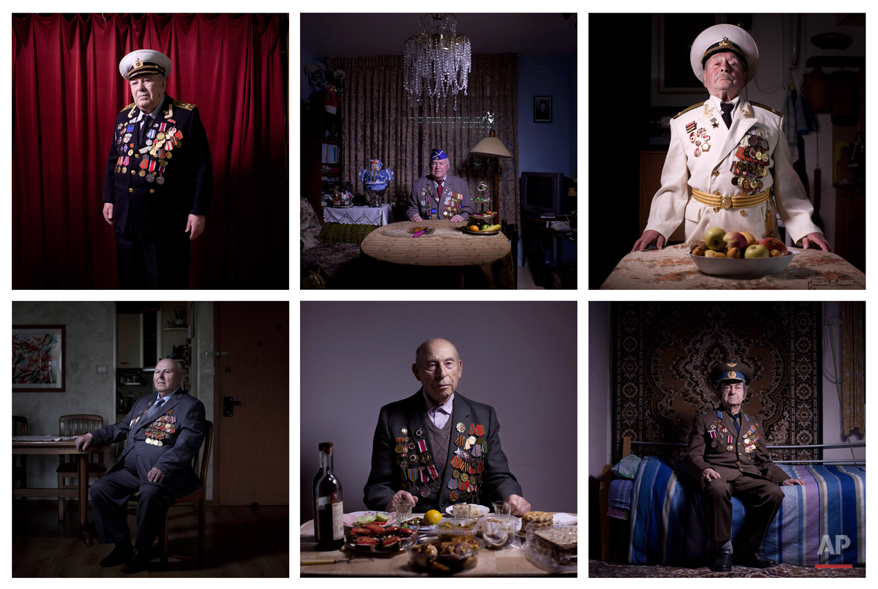 COMBO - This combination of photos made from six photos taken on April 10, April 11 , April 12, April 17, April 18, 2013 shows Soviet Jewish World War Two veterans posing for portraits at their homes in Israel. About 500,000 Soviet Jews served in the Red Army during World War Two, and the majority of those still alive today live in Israel. Every year on Victory Day, which falls this Thursday, they parade in uniform throughout Israel to celebrate Nazi Germany's surrender to the Soviet Union. (AP Photo/Oded Balilty)