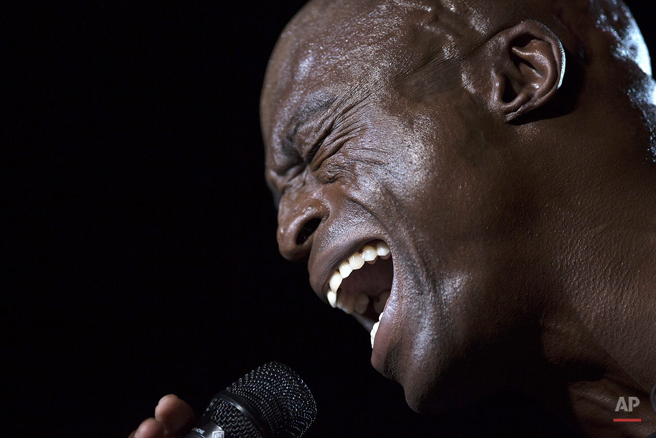 The British singer Seal performs at the Rock in Rio music festival in Rio de Janeiro, Brazil, Sunday, Sept. 20, 2015. (AP Photo/Leo Correa)
