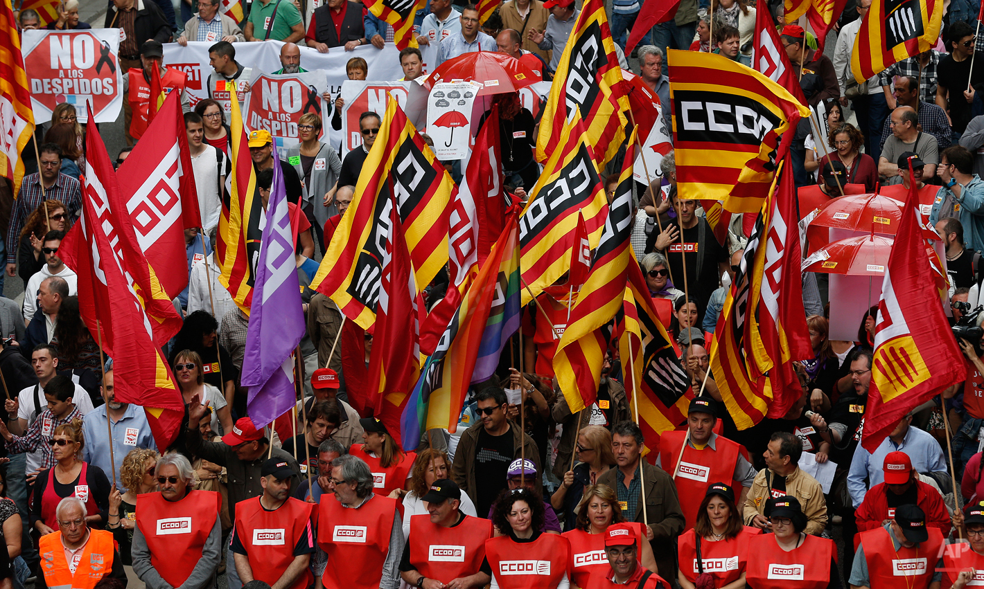 People protest during a May Day rally in the center of Barcelona, Spain, Friday, May 1, 2015. May 1 is celebrated as the International Labor Day or May Day across the world. (AP Photo/Manu Fernandez)