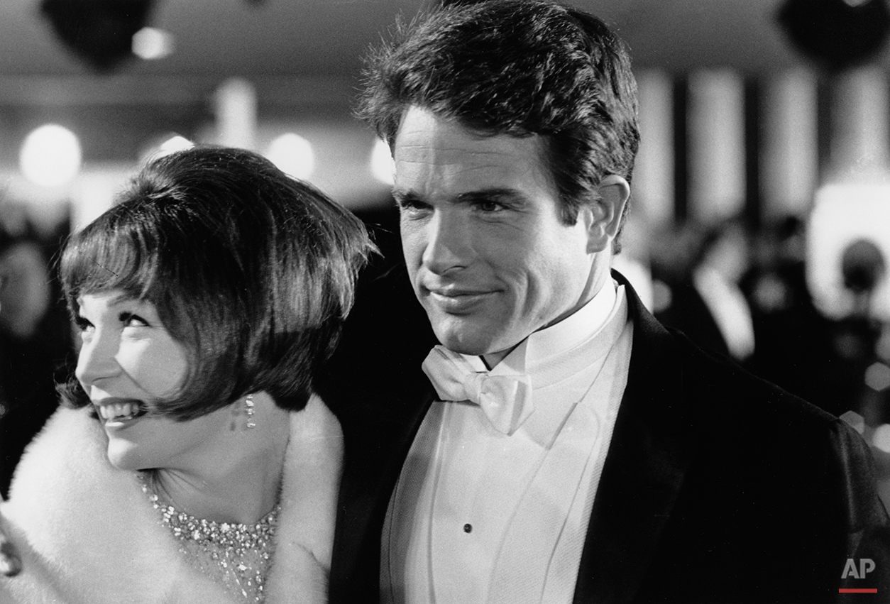 Actor Warren Beatty, right, and his sister, actress Shirley MacLaine, arrive for the Academy Awards in Santa Monica, Calif., April 18, 1966.  (AP Photo)