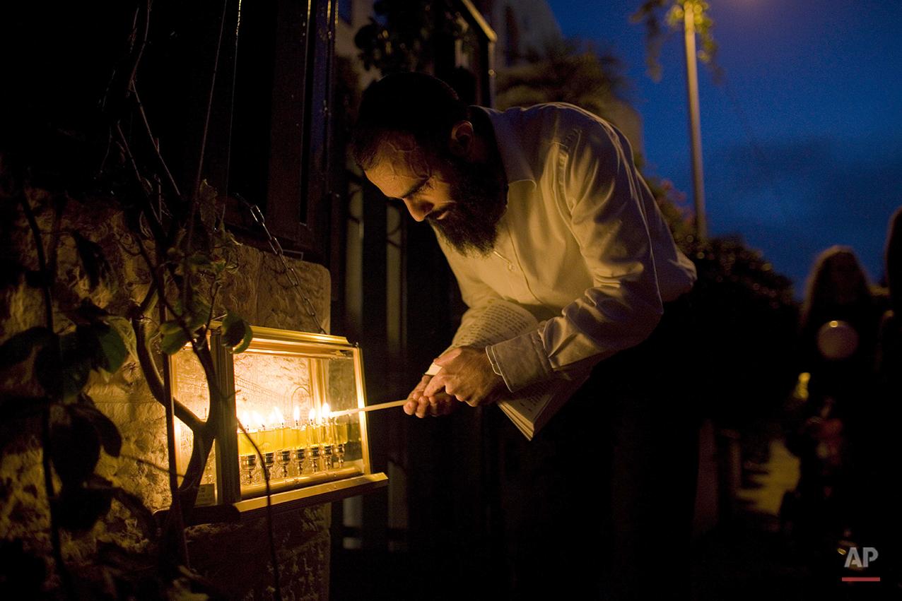 Mideast Israel Palestinians Hanukkah