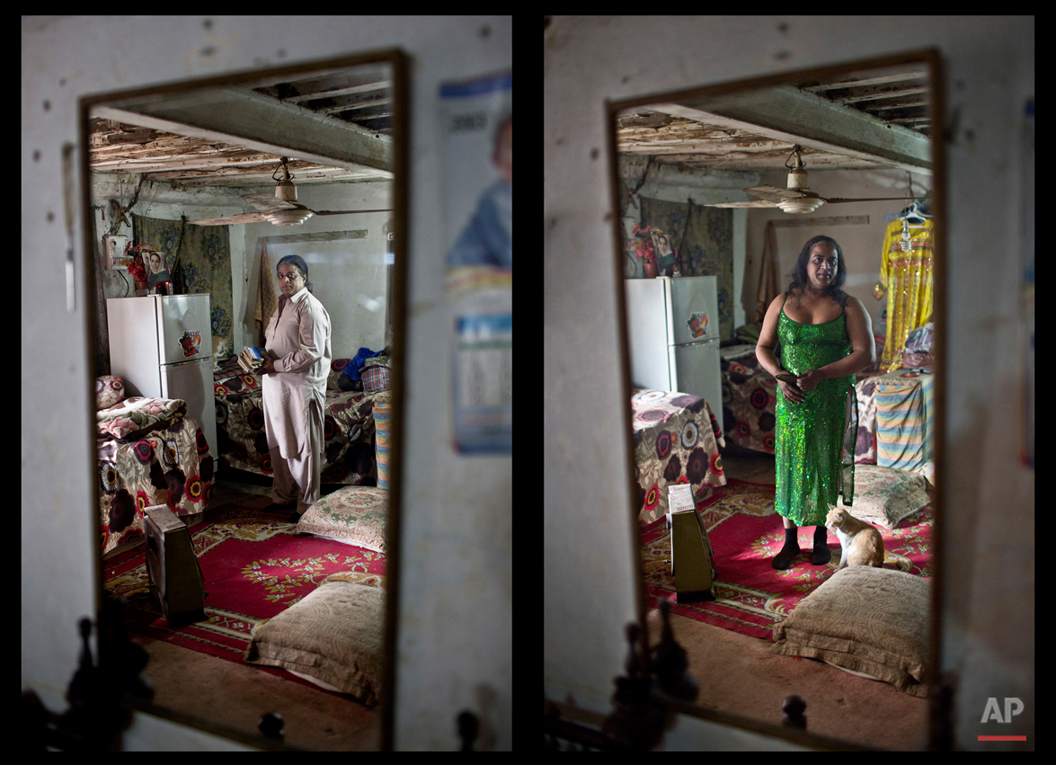 This combination of two images taken between Thursday, Jan. 8, 2015 and Monday, Jan. 12, 2015, shows Pakistani Amjad Mahmoud, 44, reflected in a mirror while posing for a picture at his place, in Rawalpindi, Pakistan. Across conservative Pakistan, where Islamic extremists launch near-daily attacks and many follow a strict interpretation of their Muslim faith,the transgendered like Mahmoud face a challenge of balancing two identities. Mahmoud, proudly identifies as transgendered. ìThe only thing I canít do as a woman is conceive babies,î Amjad says. (AP Photo/Muhammed Muheisen)