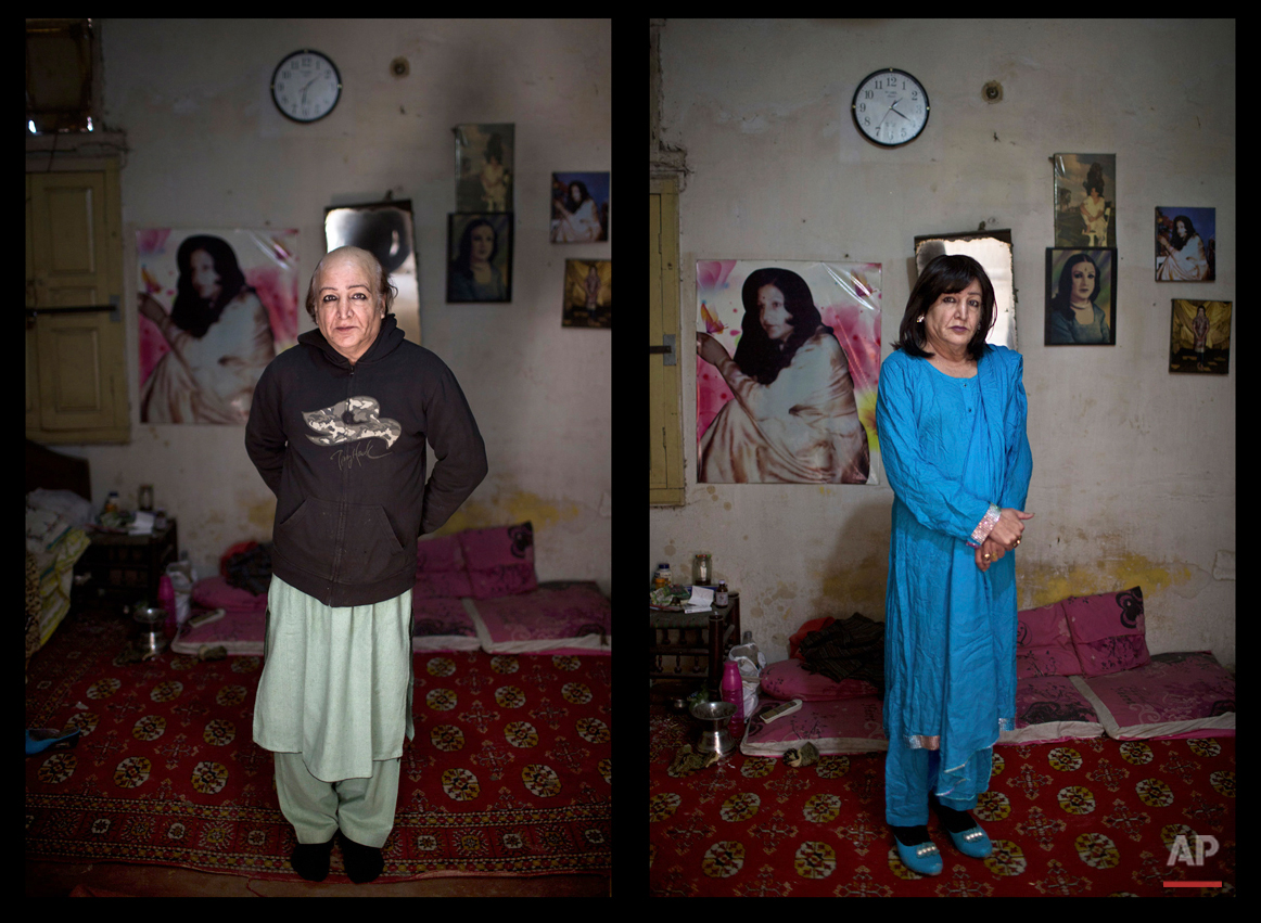 This combination of two images taken on Thursday, Jan. 8, 2015, shows Pakistani Arfeen Nasar, 49, posing for a picture at his place in Rawalpindi, Pakistan. Across conservative Pakistan, where Islamic extremists launch near-daily attacks and many follow a strict interpretation of their Muslim faith, male cross-dressers like Nasar face a challenge of balancing two identities. Some left their villages for the anonymity of a big city, fearing the reactions of their families while still concealing their identity from neighbors and co-workers. (AP Photo/Muhammed Muheisen)