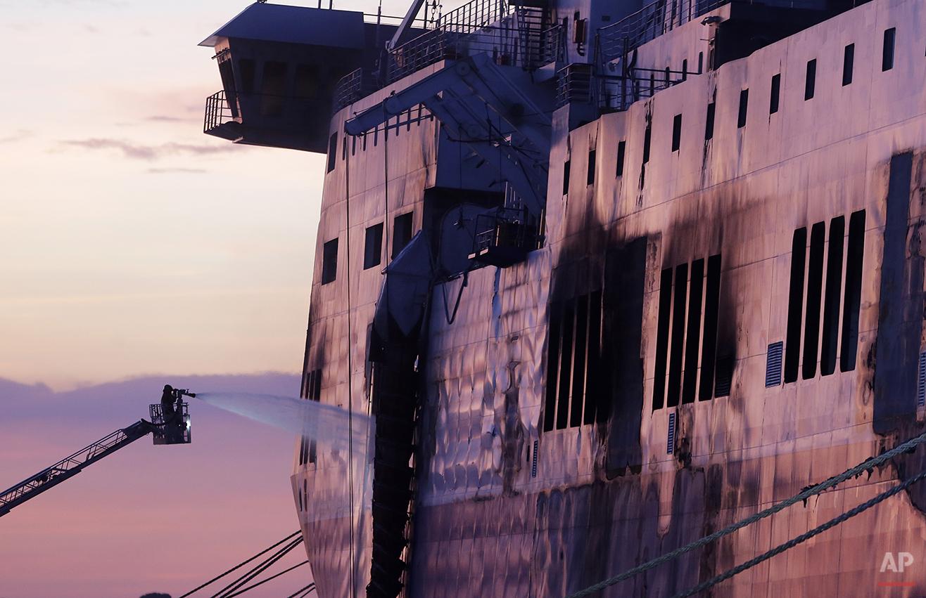 APTOPIX Italy Ferry Fire
