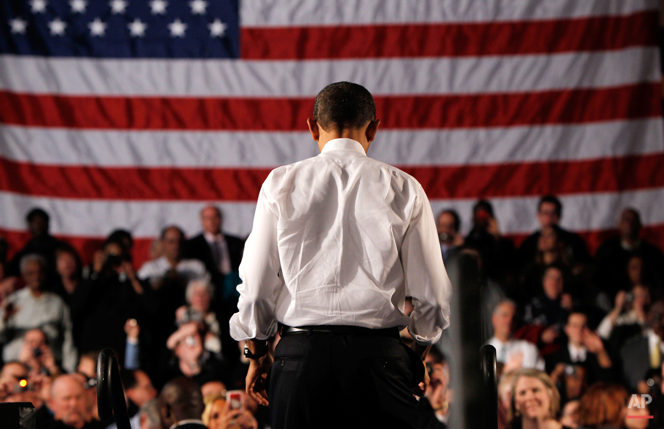 President Barack Obama steps off the stage after speaking about health care reform, Monday, March 15, 2010, at the Walter F. Ehrnfelt Recreation and Senior Center in Strongsville, Ohio. (AP Photo/Charles Dharapak)