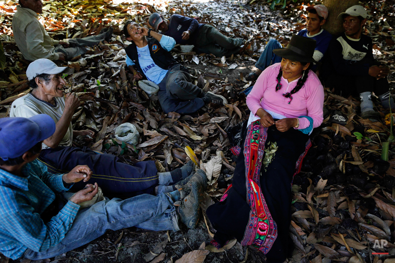 In this Sept. 4, 2014 photo, Dolores Guzman chews coca leaves after eating lunch with villagers hired by forensic anthropologists to assist in an exhumation of mass graves of people slain by government security forces in the Paccha village of Peru. Guzman, sole survivor of the 1984 massacre, journeyed to Paccha to help in locating the common graves. She was spared, she says, because one of her cousins was a police guide. The day after the killings, she was marched out of the village and released. (AP Photo/Rodrigo Abd)