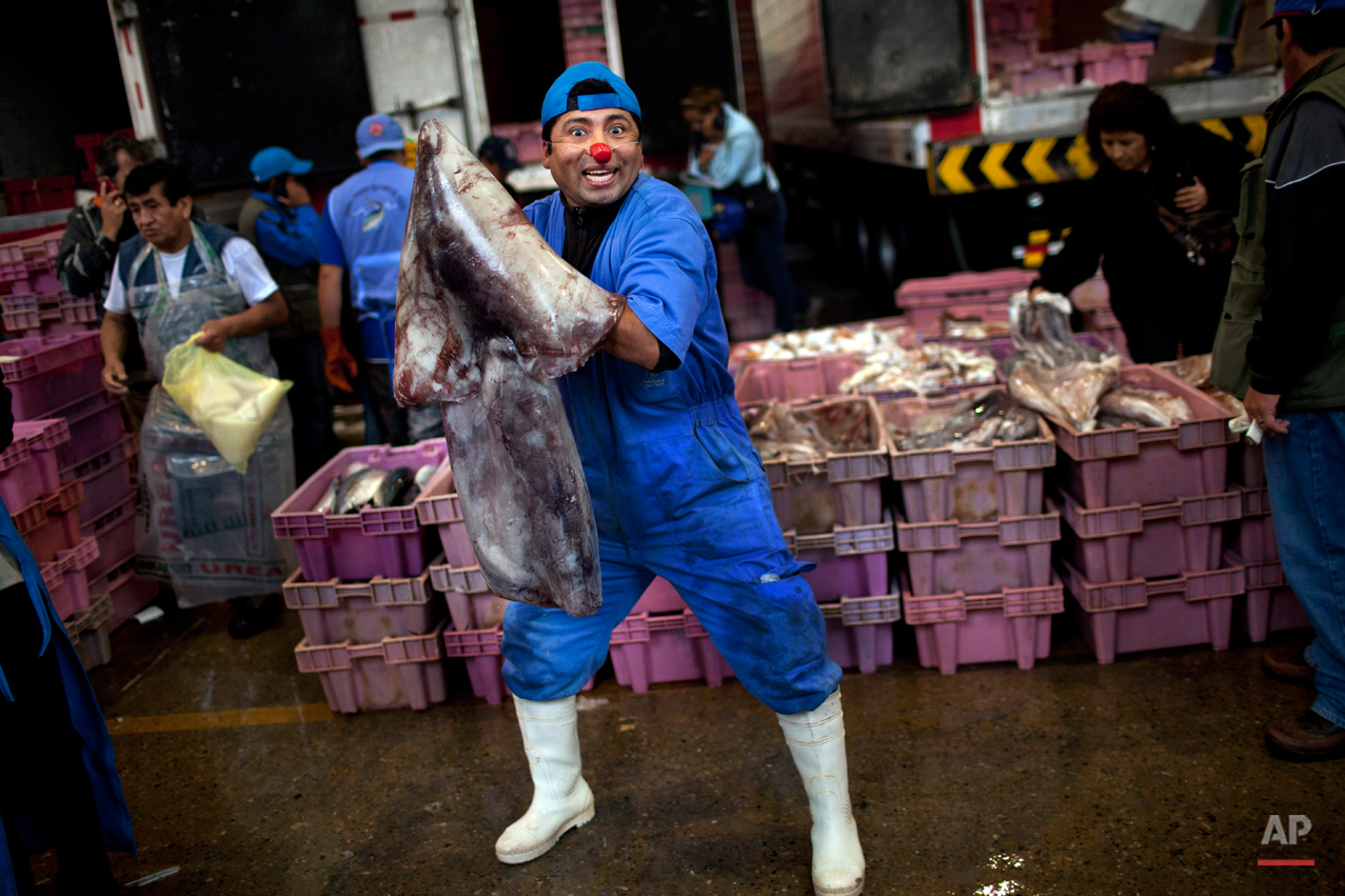Vendor Alberto Ponce poses for a picture holding parts of a fish as he waits for customers at the Villa Maria del Triunfo market, one of the largest fish markets in Lima, Peru, Wednesday, Nov. 28, 2012.   Ponce says he wears a red clown nose in hopes of attracting the attention of would-be customers. (AP Photo/Rodrigo Abd)