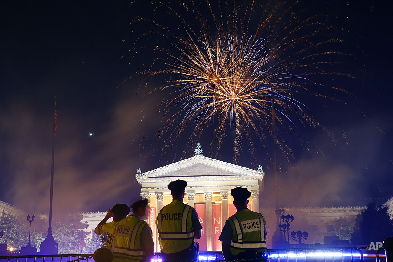 Fireworks explode over the Philadelphia Museum of Art during an Independence Day celebration, Friday, July 4, 2014, in Philadelphia. (AP Photo/Matt Rourke)