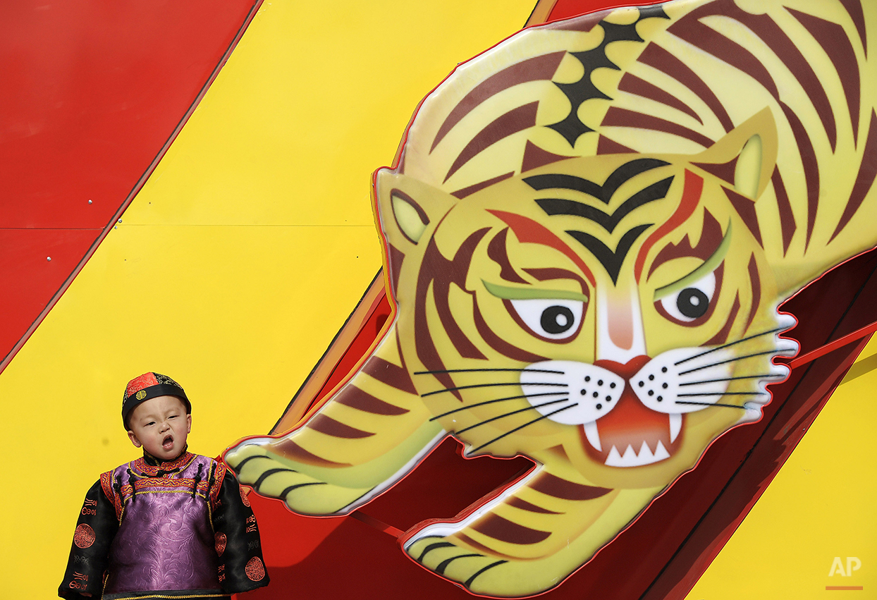 A Chinese boy in a traditional costume reacts while posing next to a tiger poster displayed at a shopping district in Beijing, Monday, Feb. 22, 2010. (AP Photo/Andy Wong)
