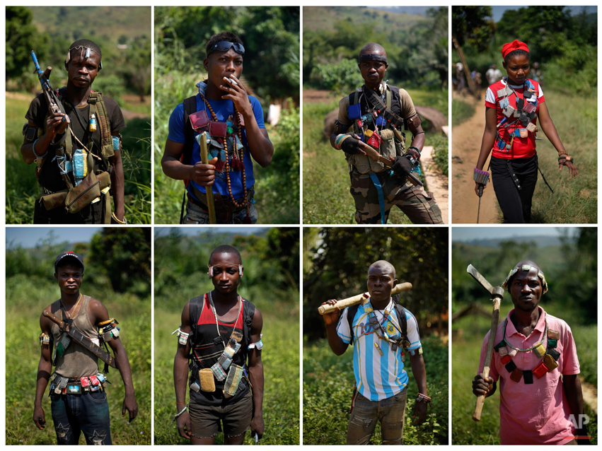 In this eight-photos combo, Anti-Balaka Christian militiamen pose for a portrait outside Central African Republic's capital Bangui, Sunday Dec. 15, 2013. The leader of the Christian militia says his fighters won't put down their rebellion until President Michel Djotodia is gone from power, raising the specter of a prolonged sectarian conflict in the country.More than 600 people have been killed since Anti-Balaka launched a strike over Bangui last week before being pushed back. (AP Photo/Jerome Delay)