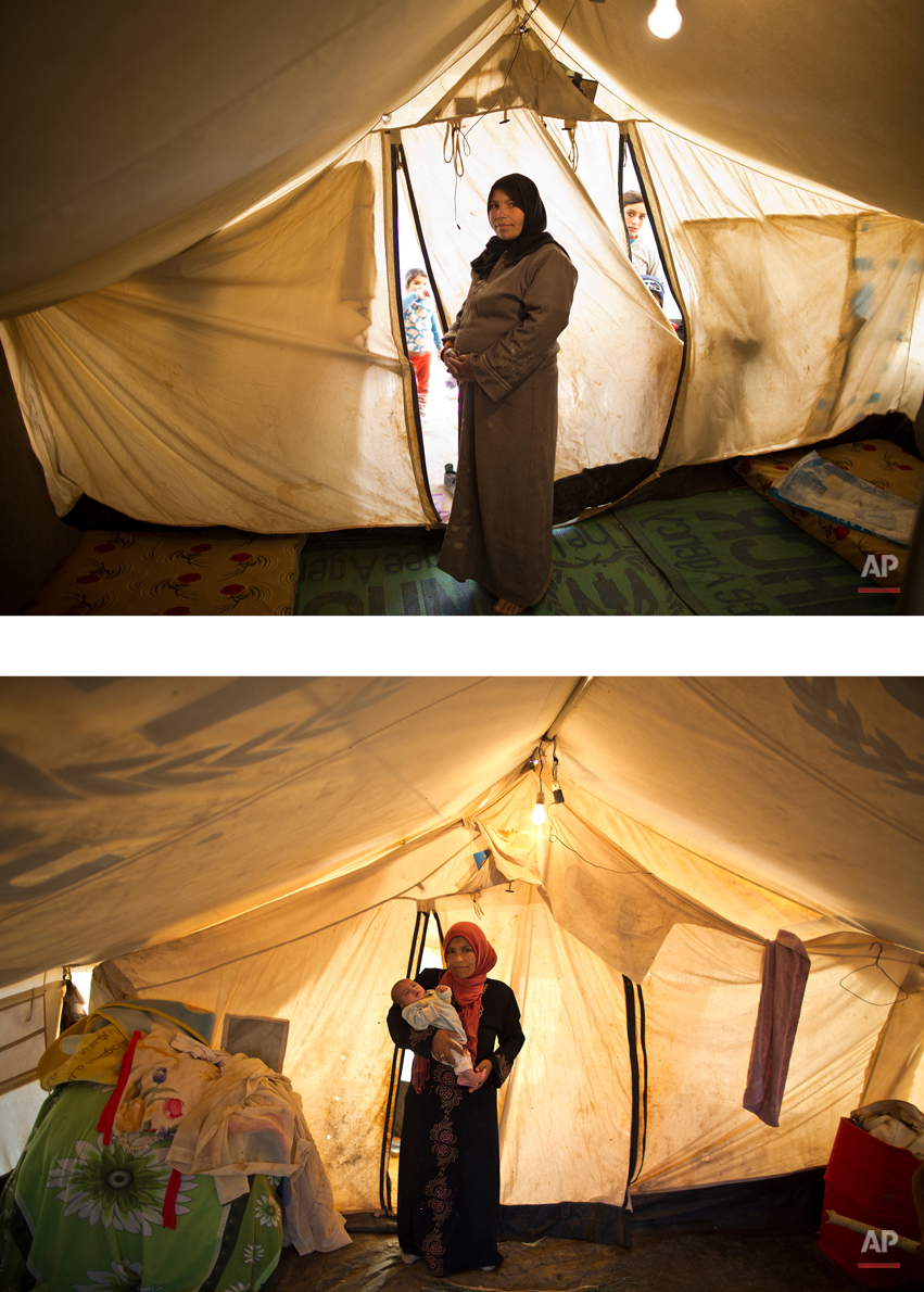 This combination of two images taken between Monday, March 16, 2015, top, and Friday, Aug. 14, 2015, shows Syrian refugee Taleea Farhan, 33, posing for a picture while being pregnant, and after giving birth to her child, at an informal tented settlement near the Syrian border, on the outskirts of Mafraq, Jordan. ìOur tent fell on us. I picked up my newly born child in my arms and ran with my other children randomly till we all hid ourselves in a neighborís tent for two hours till the storm calmed down,î Farhan recounts. ìDuring these two hours we didnít stop crying, it was so scary. Up to now, all my children are suffering from infection from the dust.î (AP Photo/Muhammed Muheisen)