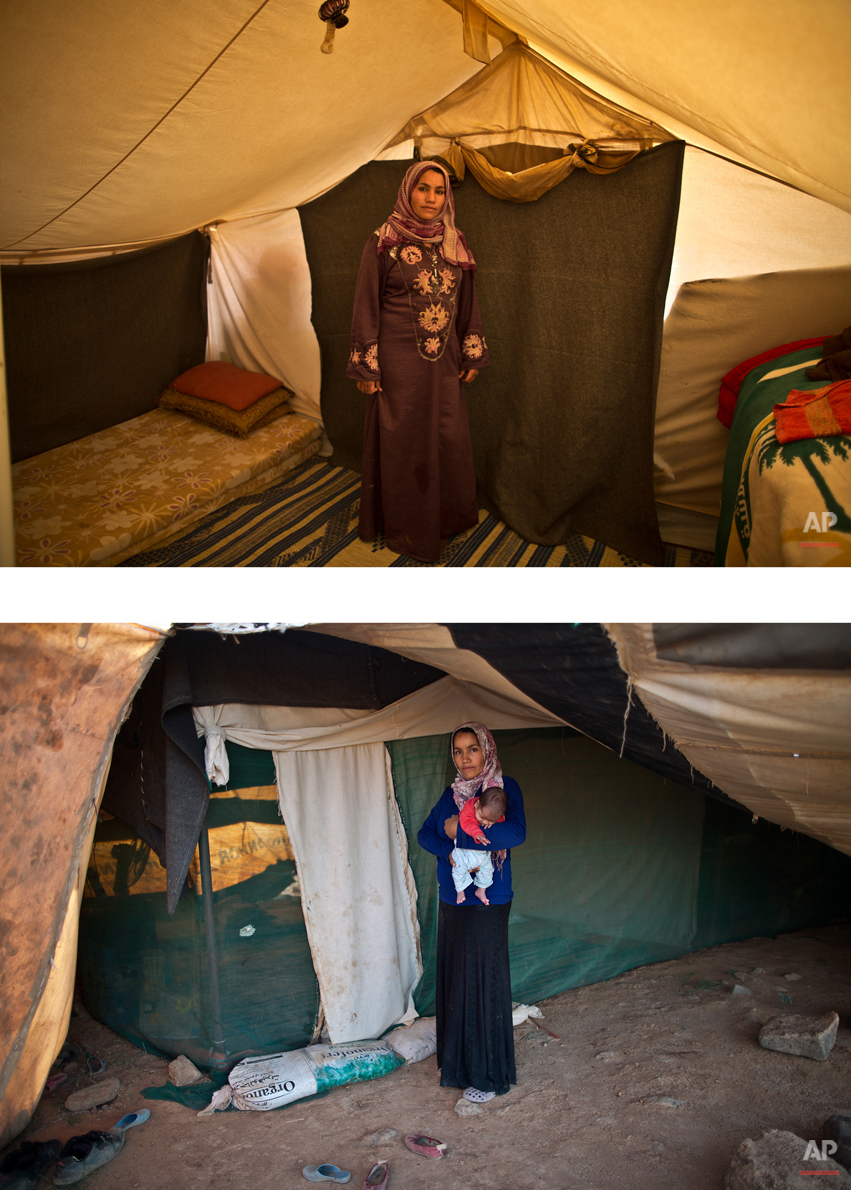 """This combination of two images taken between Monday, March 16, 2015, top, and Friday, Aug. 14, 2015, shows Syrian refugee Khalida Moussa, 28, posing for a picture while being pregnant, and after giving birth to her child, at an informal tented settlement near the Syrian border, on the outskirts of Mafraq, Jordan. """"I delivered several days after my due day and I was so afraid,î Moussa says. ìWe had to borrow money for me to deliver and up to now my husband hasnít paid it back. He canít afford it.î (AP Photo/Muhammed Muheisen)"""