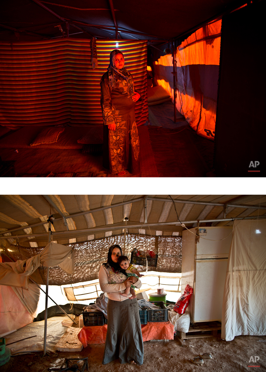 This combination of two images taken between Monday, March 16, 2015, top, and Sunday, Aug. 16, 2015, shows Syrian refugee Bushra Eidah,16, posing for a picture while being pregnant, and after giving birth to her child, at an informal tented settlement near the Syrian border, on the outskirts of Mafraq, Jordan. ìWe used to be two and now we are three,î Eidah says. ìWhen it was only me and my husband, it didnít matter if we went to sleep hungry, but now we have a child and I donít know how we are going to feed her.î (AP Photo/Muhammed Muheisen)