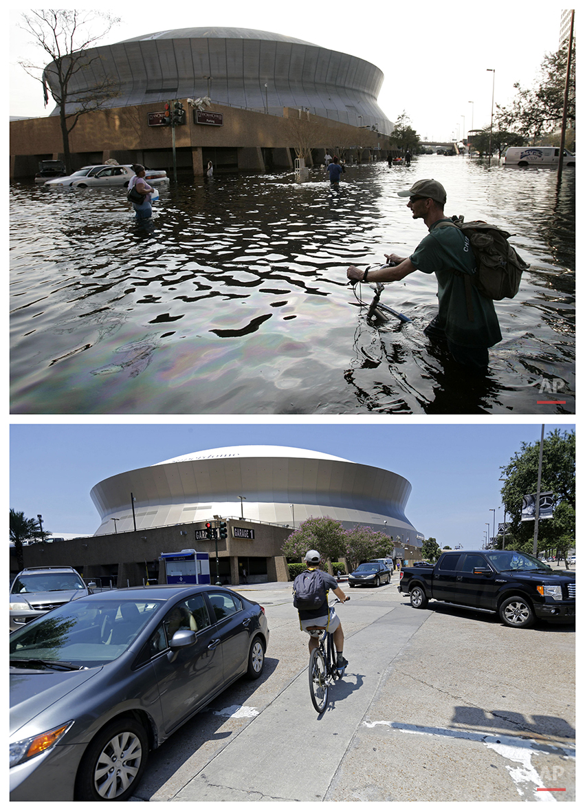 This combination of Aug, 31, 2005 and July 31, 2015 photos shows a man pushing his bicycle through flood waters near the Superdome in New Orleans after Hurricane Katrina left much of the city under water, and a cyclist outside the renamed Mercedes-Benz Superdome a decade later. (AP Photo/Eric Gay, Gerald Herbert)