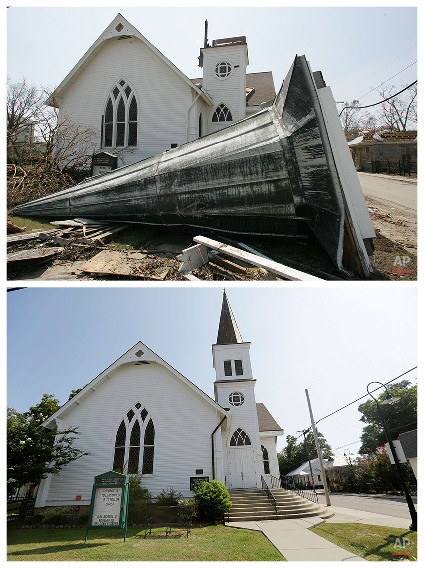 This combination of Sept. 2, 2005 and Friday, Aug. 14, 2015 photos shows the steeple from the Main Street Methodist Church blown down during Hurricane Katrina in Bay St. Louis, Miss., and the restored church a decade later. The storm went down in history as the costliest natural disaster to strike the U.S., with $150 billion in damages to homes and other property. It was also one of the deadliest. (AP Photo/M. Spencer Green, Gerald Herbert)