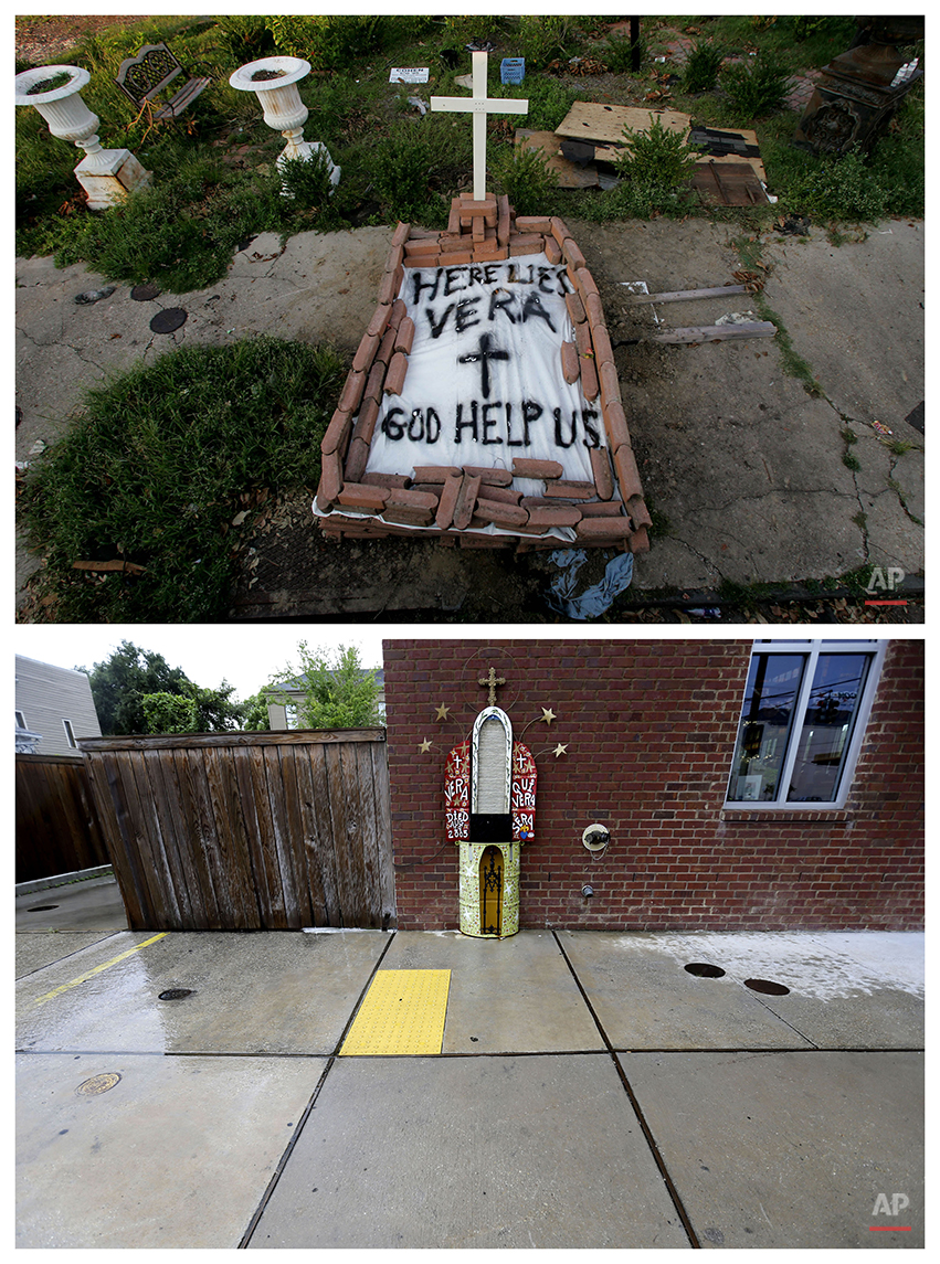 This combination of Sept. 4, 2005 and July 30, 2015 photos show a makeshift tomb at a New Orleans street corner, concealing a body that had been lying on the sidewalk for days in the wake of Hurricane Katrina, and the same site a decade later with an artist's memorial to the woman known as Vera. Nearly 2,000 people died because of the storm, mostly in New Orleans, 80 percent of which was flooded for weeks. One million people were displaced. (AP Photo/Dave Martin, Gerald Herbert)