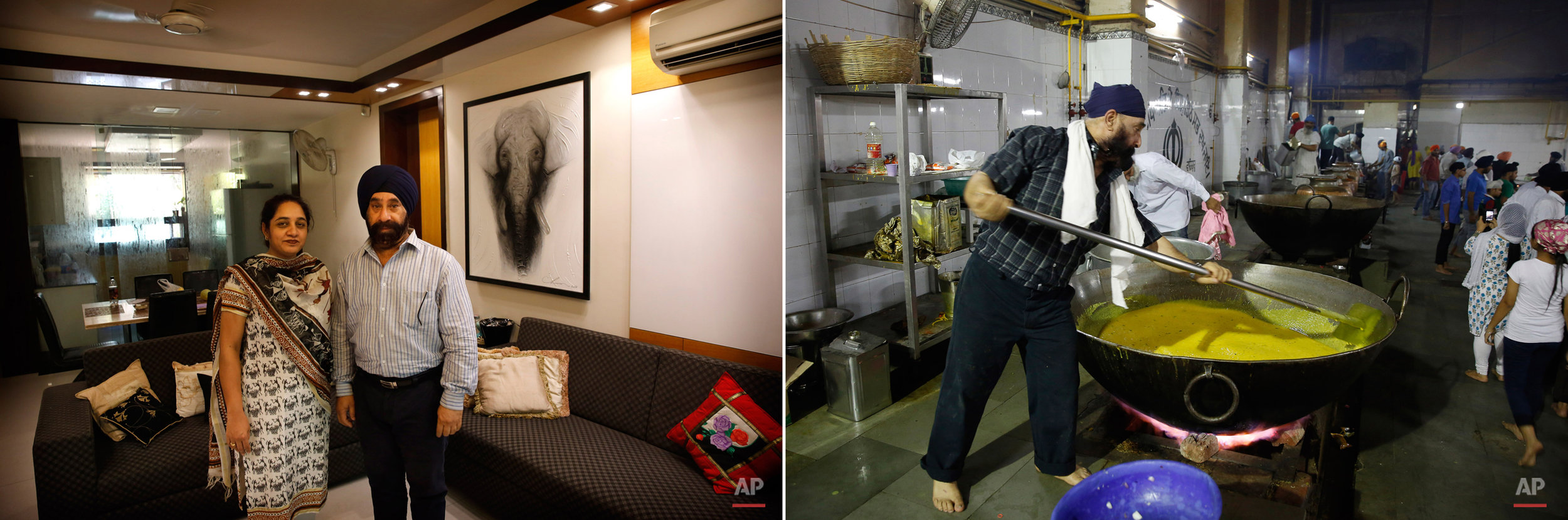 This two picture combo shows on left, Harpreet Singh poses with his wife at their house in New Delhi, India, on May 28, 2015, as on right, he prepares langar, or free community meal, at Bangla Sahib Gurudwara or Sikh temple, on May 23, 2015, in New Delhi, India. Service is one of the most integral traditions of gurudwaras. From cleaning to preparing tons of food every day there is plenty of work to be done. And there are plenty of sevadaars, or volunteers, to do it. While the gurudwara employs a small group of men to help manage the kitchen, it depends on visiting worshippers to contribute nearly half of all work and food supplies. (AP Photo/Manish Swarup)
