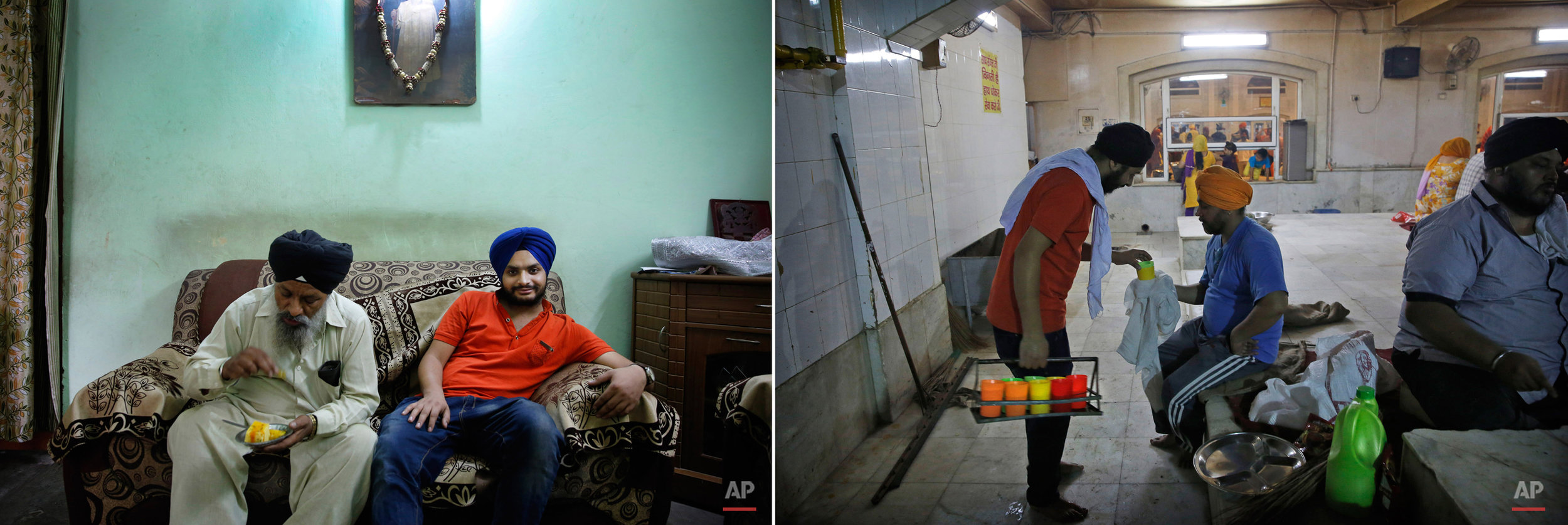 This two picture combo shows on left, Manpreet Singh, 23, who works in a call centre, sits with his father, at their house in New Delhi, India, on May 30, 2015, as on right, he serves drinking water to a Sikh devotee during langar, or free community meal, at the Bangla Sahib Gurudwara or Sikh temple, in New Delhi, India, on May 23, 2015. Service is one of the most integral traditions of gurudwaras. From cleaning to preparing tons of food every day there is plenty of work to be done. And there are plenty of sevadaars, or volunteers, to do it. While the gurudwara employs a small group of men to help manage the kitchen, it depends on visiting worshippers to contribute nearly half of all work and food supplies. (AP Photo/Manish Swarup)