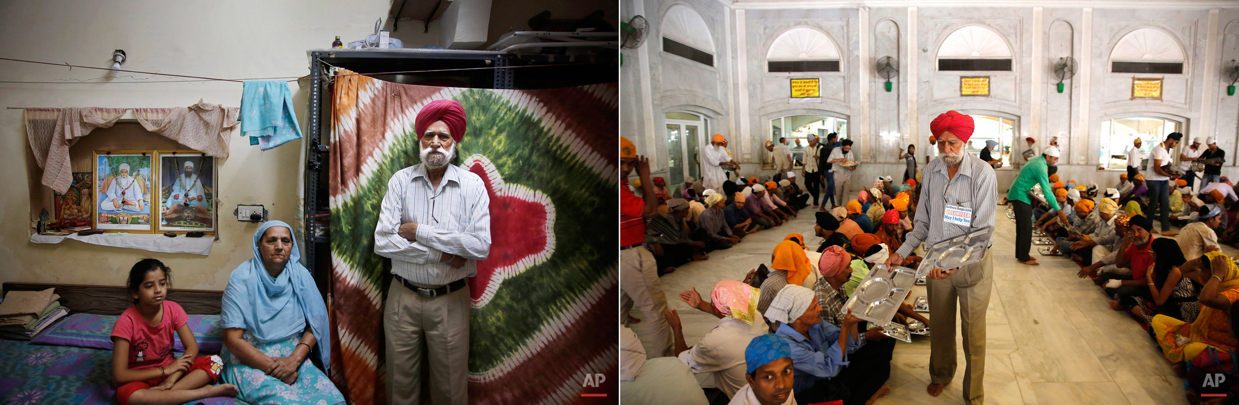 This two picture combo shows, on the left, Jaspal Singh,69, a retired carpenter, poses with his family at their house in New Delhi, India on May 28, 2015, as on right, he serves empty plates to devotees for langar, or free community meal, at the Bangla Sahib Gurudwara or Sikh temple, on May 27, 2015 in New Delhi, India. Service is one of the most integral traditions of gurudwaras. From cleaning to preparing tons of food every day there is plenty of work to be done. And there are plenty of sevadaars, or volunteers, to do it. While the gurudwara employs a small group of men to help manage the kitchen, it depends on visiting worshippers to contribute nearly half of all work and food supplies. (AP Photo/Manish Swarup)