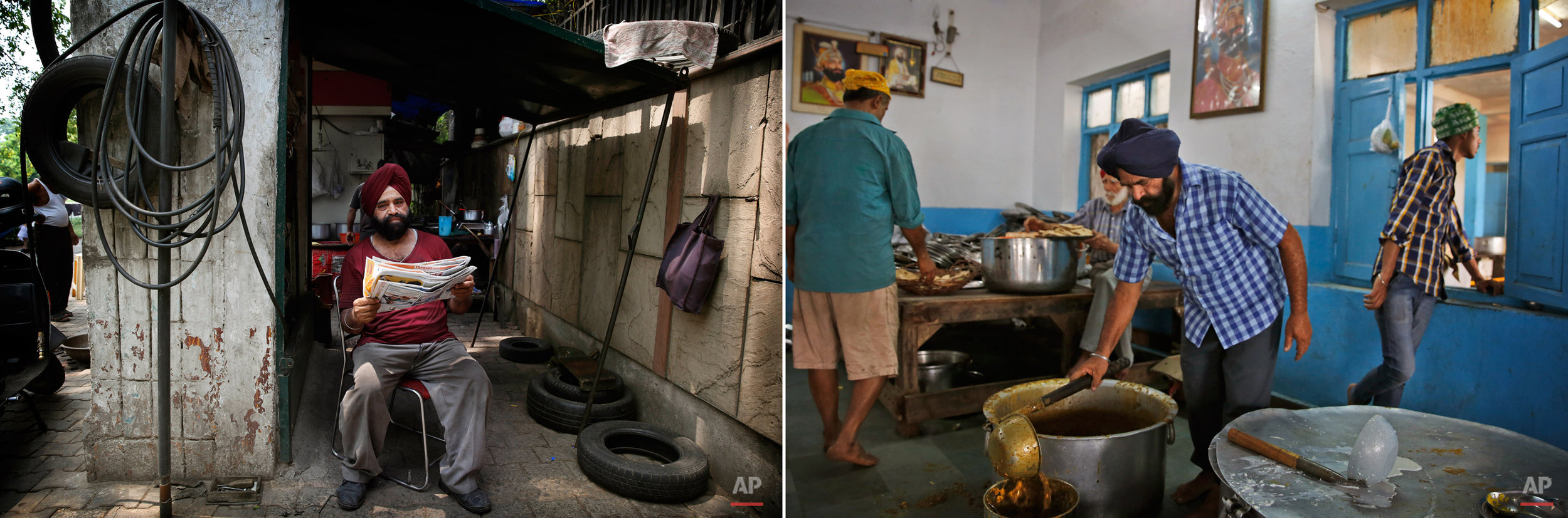 This two picture combo shows on left, Harkerat Singh, a roadside tyre puncture mechanic sits outside his shop, in New Delhi, India, on June 16, 2015, as on right, he serves lentils during langar at the Majnu-Ka-Tila Gurdwara or Sikh temple, in New Delhi, India, on June 14, 2015. The langar, which translates to community meal, started by Guru Nanak, founder of Sikhism in late 15th century, a place where people from different cast and creed come under one roof to eat and serve. It is now a tradition followed by more than 30 million Sikhs worldwide. Nearly every Gurdwara in the world, irrespective of size, has a kitchen and serves lanagar. (AP Photo/Manish Swarup)