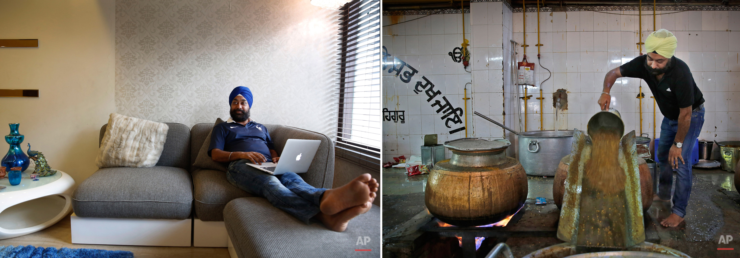 This two picture combo shows on left, Kulbir Singh, 31, a marketing executive in a media group, sits at his house in South Extension in New Delhi, India, on June 4, 2015 as on right, he pours lentils into a large utensil as he prepares food for langar, or free community meal, to be served to devotees at Bangla Sahib Gurudwara or Sikh temple, on June 3, 2015, in New Delhi, India. Service is one of the most integral traditions of gurudwaras. From cleaning to preparing tons of food every day there is plenty of work to be done. And there are plenty of sevadaars, or volunteers, to do it. While the gurudwara employs a small group of men to help manage the kitchen, it depends on visiting worshippers to contribute nearly half of all work and food supplies. (AP Photo/Manish Swarup)