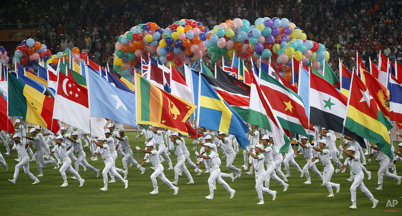 View of the closing ceremony of the World Athletics Championships at the Bird's Nest stadium in Beijing, Sunday, Aug. 30, 2015. (AP Photo/Mark Schiefelbein)