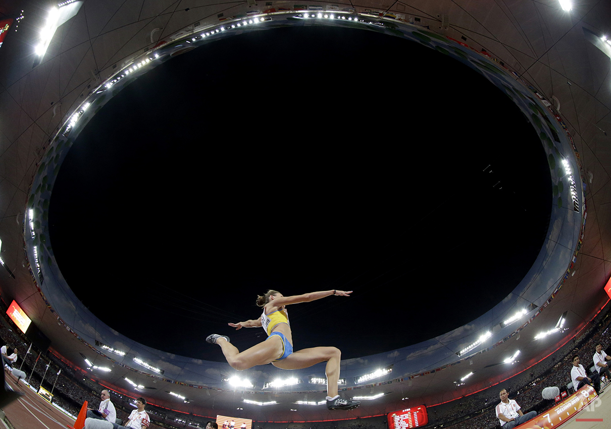 Sweden's Erica Jarder competes in the women's long jump final at the World Athletics Championships at the Bird's Nest stadium in Beijing, Friday, Aug. 28, 2015. (AP Photo/Lee Jin-man)