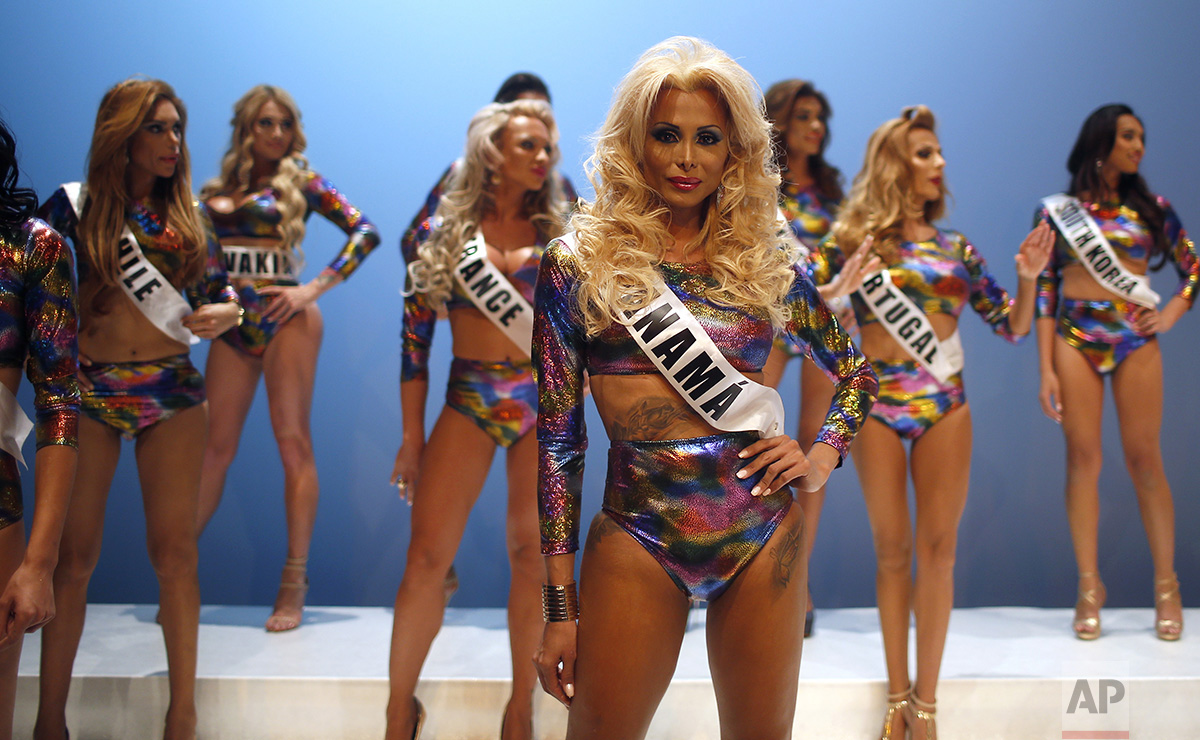 In this Sunday, Sept. 18, 2016 photo, participants performance at the Miss Trans Star International 2016 during a show celebrated in Barcelona, Spain. (AP Photo/Manu Fernandez)