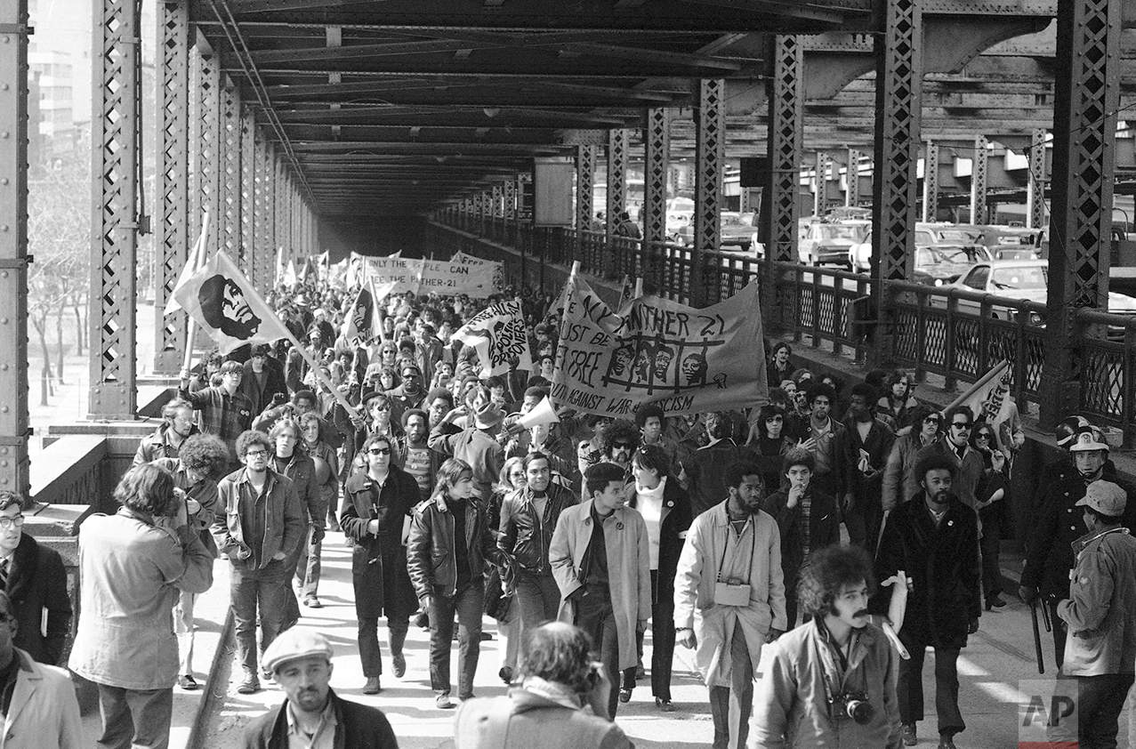 Some of about 5,000 crowd Queens-borough bridge in Manhattan on March 4, 1970 during march on the Queens house of detention, where 11 Black Panthers have been imprisoned almost a year. (AP Photo)
