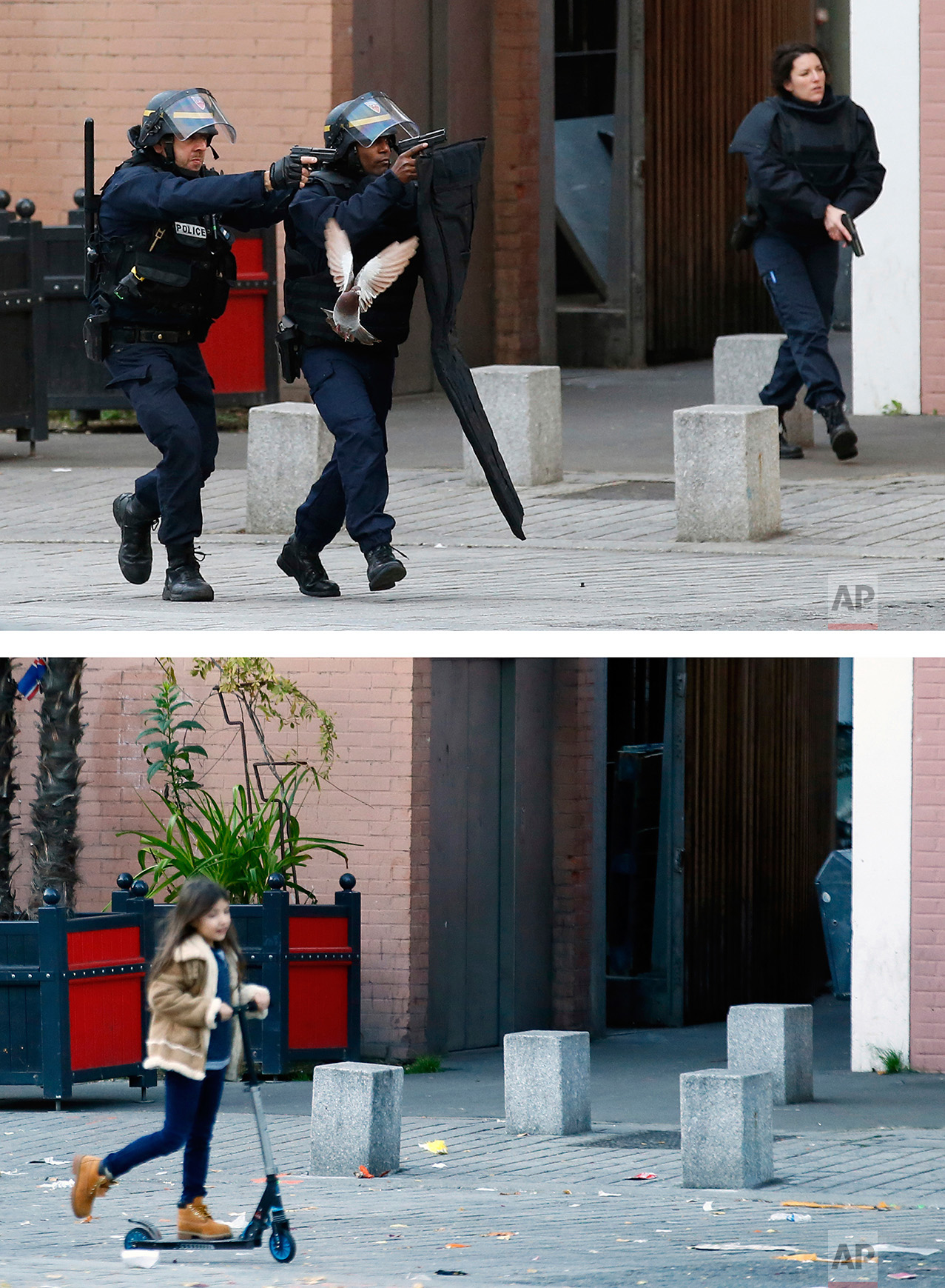 This combination of two photos shows a Wednesday, Nov. 18, 2015 photo, top, of police officers in Saint-Denis, a northern suburb of Paris after the Paris attacks, and a child traveling by scooter along the same street, bottom, on Sunday, Nov. 6, 2016. (AP Photo/Francois Mori, Francois Mori)