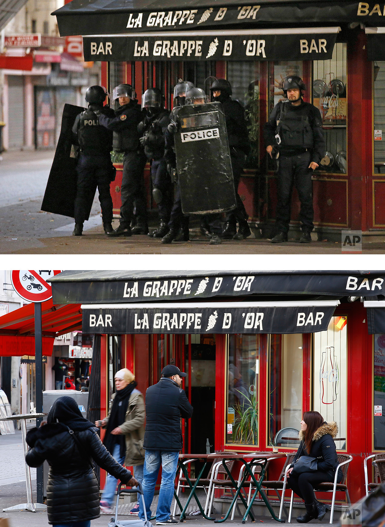 This combination of two photos shows a Wednesday, Nov. 18, 2015 photo, top, of police operating in Saint Denis, a northern suburb of Paris, after the deadly attacks, and people walking by and using the cafe, bottom, on Tuesday, Nov. 8, 2016. (AP Photo/Francois Mori, Francois Mori)