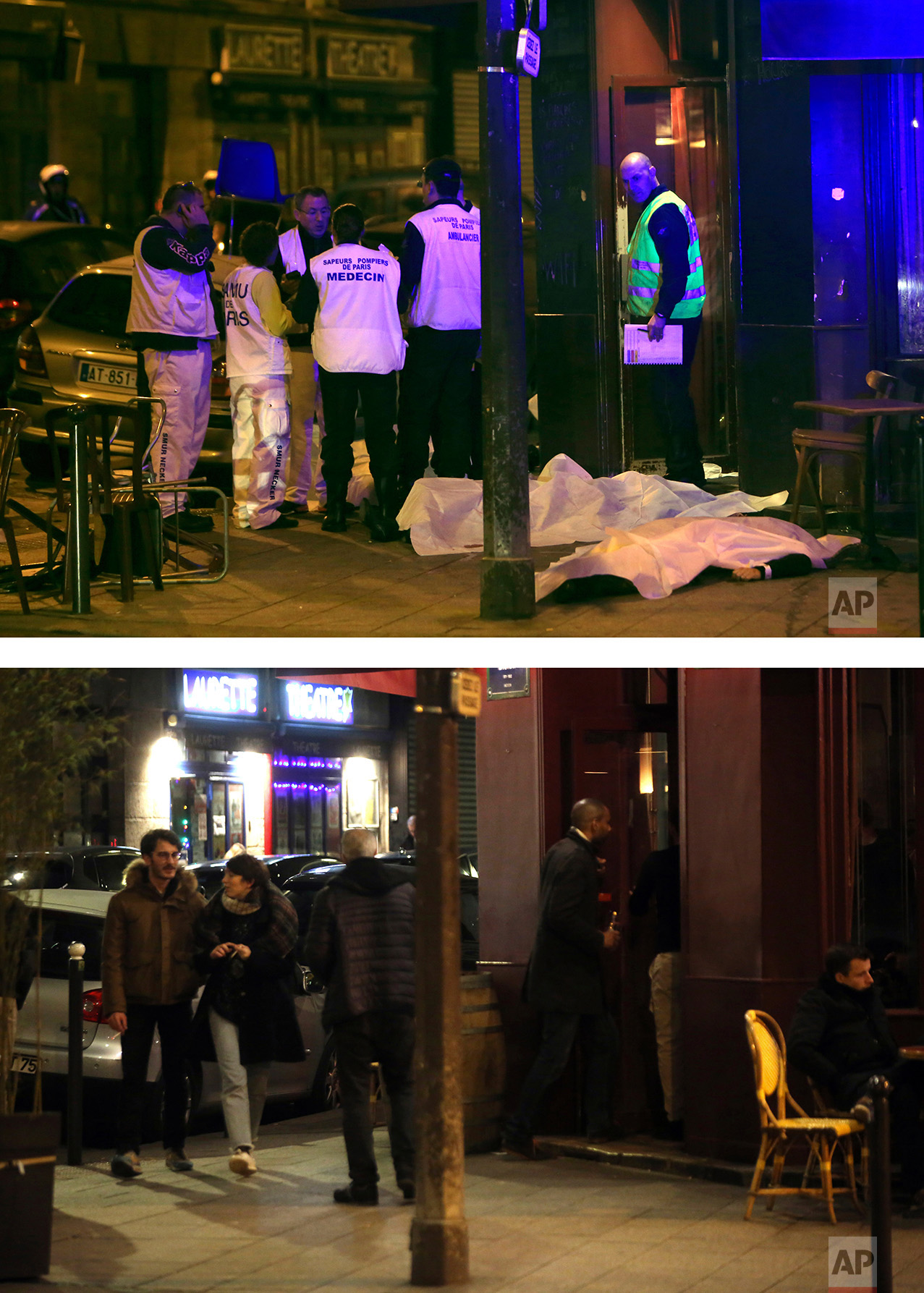 This combination of two photos shows a Friday, Nov. 13, 2015 photo, top, of medical staff standing near victims of violence in a Paris restaurant, and people walking along the street passing the restaurant, bottom, on Tuesday, Nov. 8, 2016. (AP Photo/Thibault Camus, Thibault Camus)
