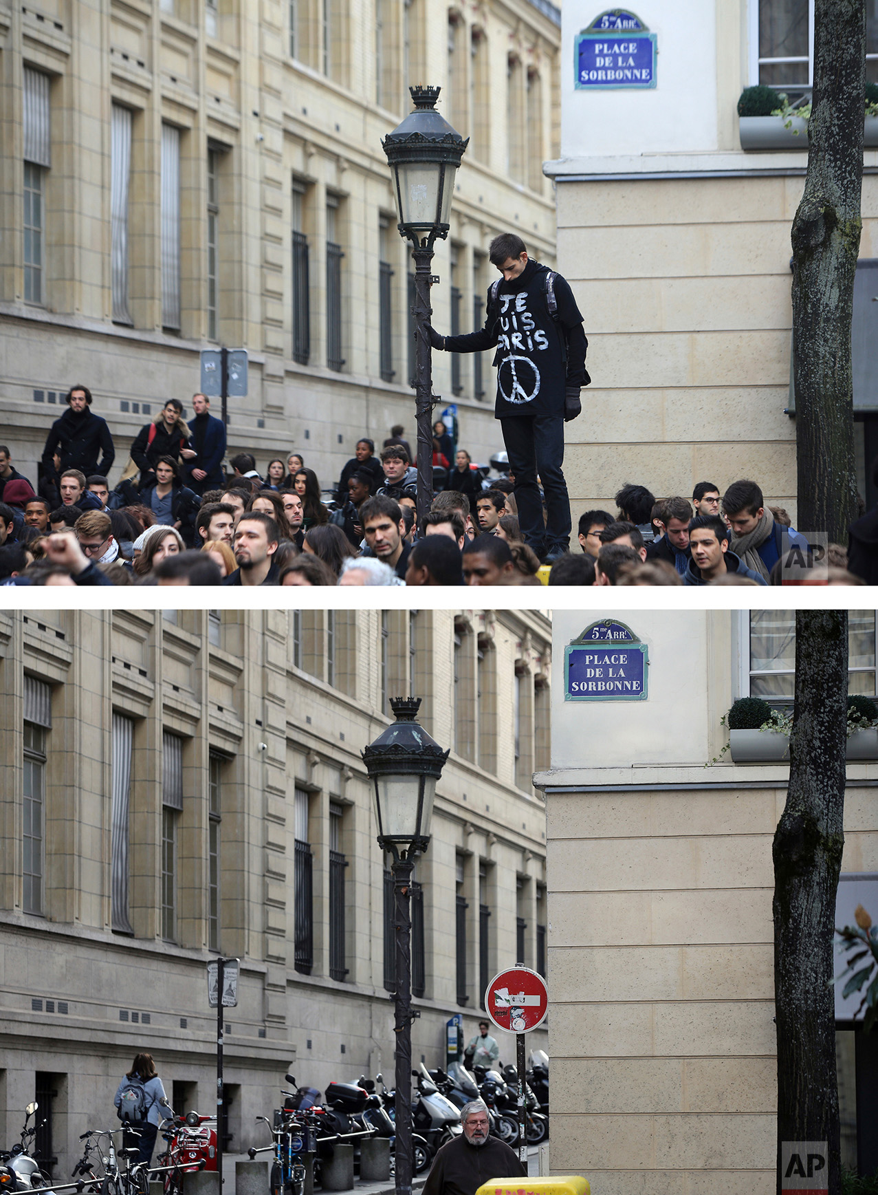 """This combination of two photos shows a Monday, Nov. 16, 2015 photo, top, of a man wearing a t-shirt reading """"I am Paris"""", observing a minute silence, outside the Sorbonne university, in Paris, after the deadly attacks, and people walking through the streets, bottom, on Tuesday, Nov. 8, 2016. (AP Photo/Thibault Camus, Thibault Camus)"""