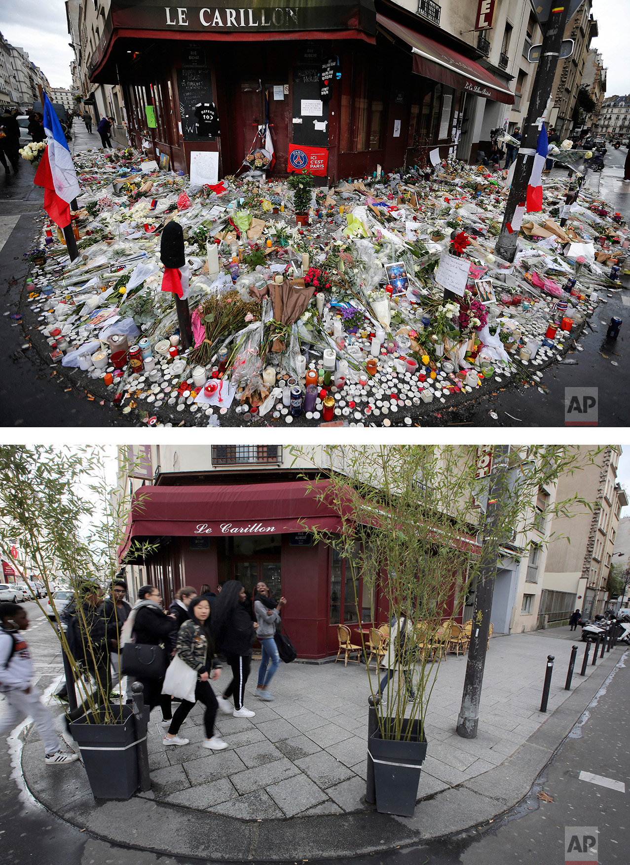 This combination of two photos shows a Thursday, Nov. 19, 2015 photo, top, of flowers and candle tributes placed outside the Restaurant Le Carillon in Paris after the Paris attacks, and people walking past the restaurant, bottom, on Tuesday Nov. 8, 2016. (AP Photo/Frank Augstein, Thibault Camus)