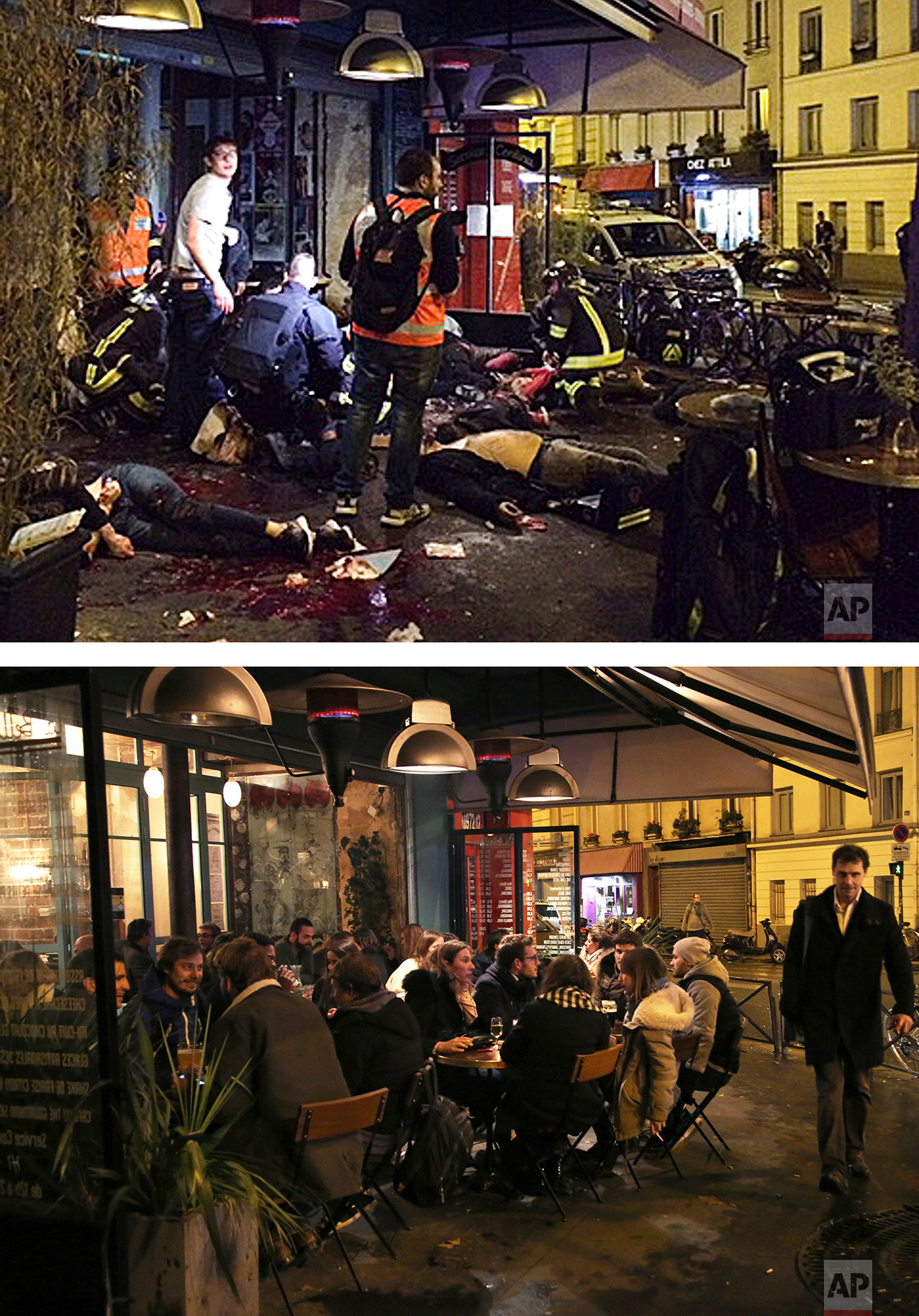 This combination of two photos shows a Friday, Nov. 13, 2015 photo, top, of victims of a shooting attack on the pavement outside La Belle Equipe restaurant in Paris, and a man walking by people sitting outside the cafe, bottom, on Wednesday, Nov. 9, 2016. (Anne Sophie Chaisemartin via AP/AP Photo/Thibault Camus)