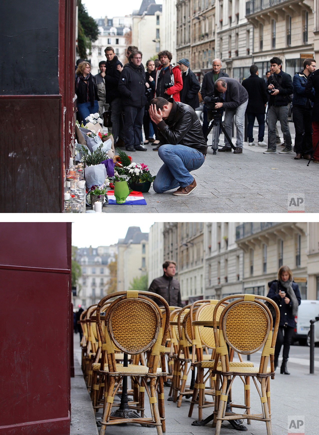 This combination of two photos shows a Saturday, Nov. 14, 2015 photo, top, of a man holding his head in his hands as he lays flowers in front of the Carillon cafe, in Paris, after the deadly attacks, and people walking past the cafe, bottom, on Tuesday Nov. 8, 2016. (AP Photo/Thibault Camus, Thibault Camus)