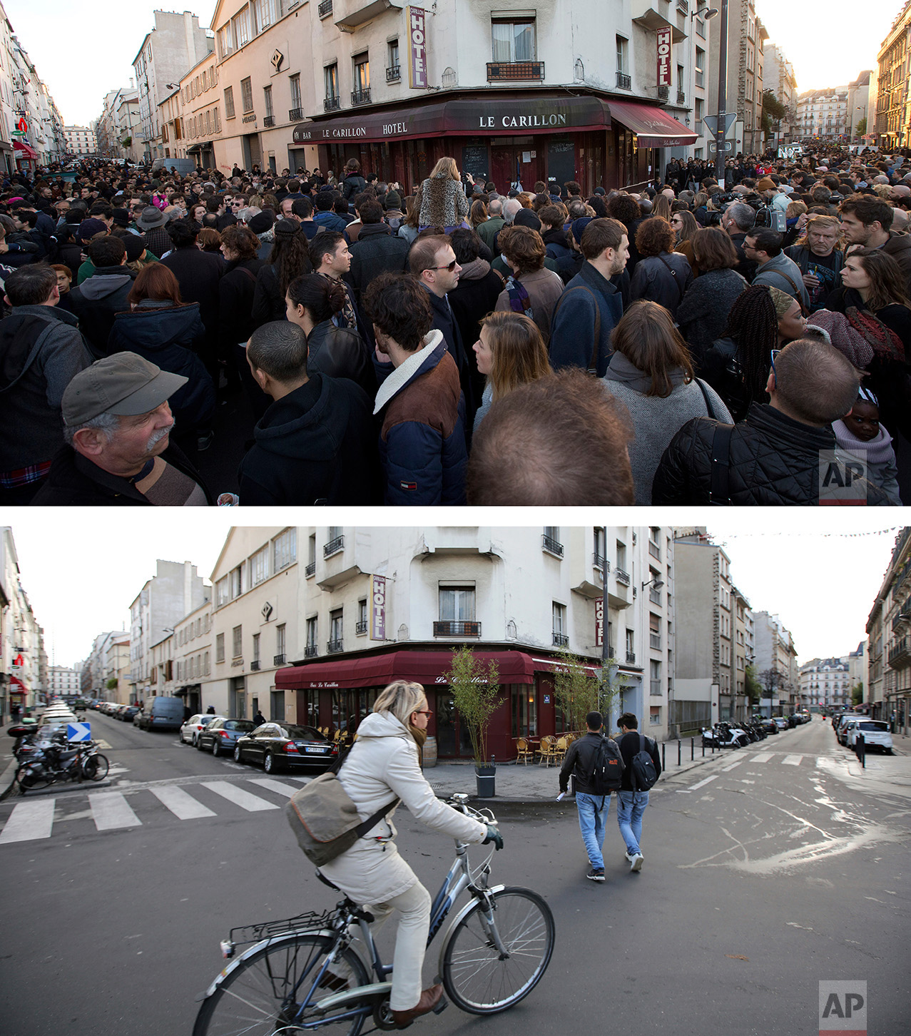 This combination of two photos shows a Sunday, Nov. 15, 2015 photo, top, of people as they pay their respects to the victims at the site of the attacks on restaurant Le Petit Cambodge (Little Cambodia) and the Carillon Hotel on the first of three days of national mourning in Paris, after the deadly attacks, and a woman cycling past the cafe, bottom, on Tuesday Nov. 8, 2016. (AP Photo/Peter Dejong, Thibault Camus)