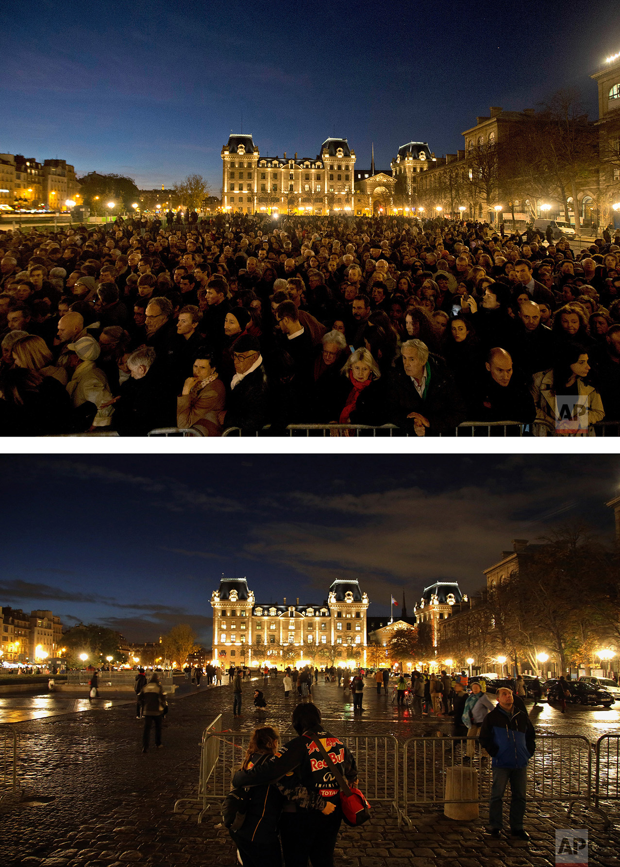 This combination of two photos shows a Sunday, Nov. 15, 2015 photo, top, of people gathering for a national service at Notre Dame cathedral in Paris, for the victims of the terror attack, and people walking through and standing outside the cathedral, bottom, on Wednesday Nov. 9, 2016. (AP Photo/Daniel Ochoa de Olza,Thibault Camus)