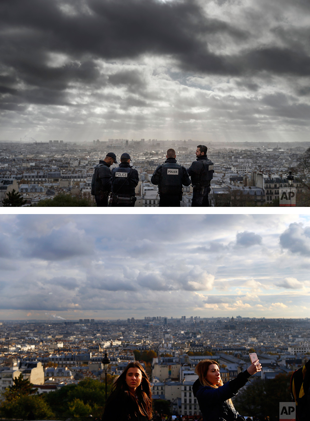 This combination of two photos shows a Wednesday, Nov. 18, 2015 photo, top, of French police officers on guard near the church of Sacre Coeur, on top of the Montmartre hill with a view of Paris, after the Paris attacks, and tourists taking photos, bottom, on Tuesday Nov. 8, 2016. (AP Photo/Daniel Ochoa de Olza, Francois Mori)