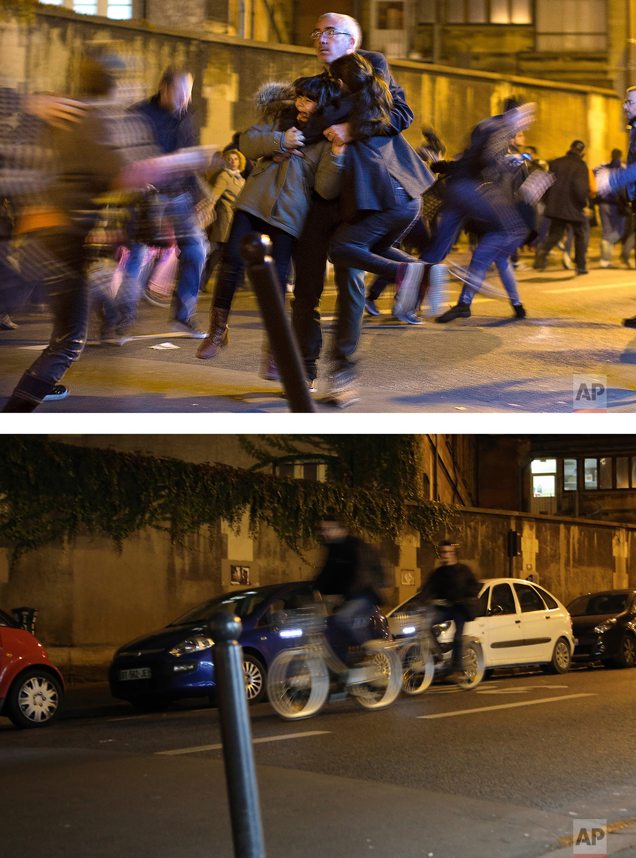 This combination of two photos shows a Sunday, Nov. 15, 2015 photo, top, of a man carrying two children after panic broke out among mourners who payed their respect at the attack sites at restaurant Le Petit Cambodge (Little Cambodia) and the Carillon Hotel in Paris, and people cycling along the road, bottom, on Tuesday Nov. 8, 2016. (AP Photo/Peter Dejong, Thibault Camus)