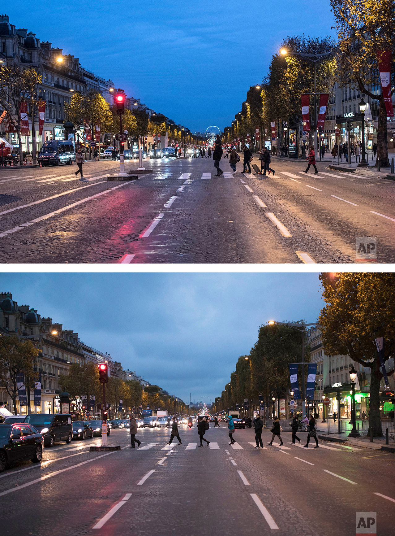 This combination of two photos shows a Saturday, Nov. 14, 2015 photo, top, of people strolling on the almost empty Champs Elysees avenue, in Paris, a day after the terror attacks, and people walking and driving along the Champs Elysees avenue, in Paris, bottom, on Monday Nov. 7, 2016. (AP Photo/Kamil Zihnioglu,, Kamil Zihnioglu)