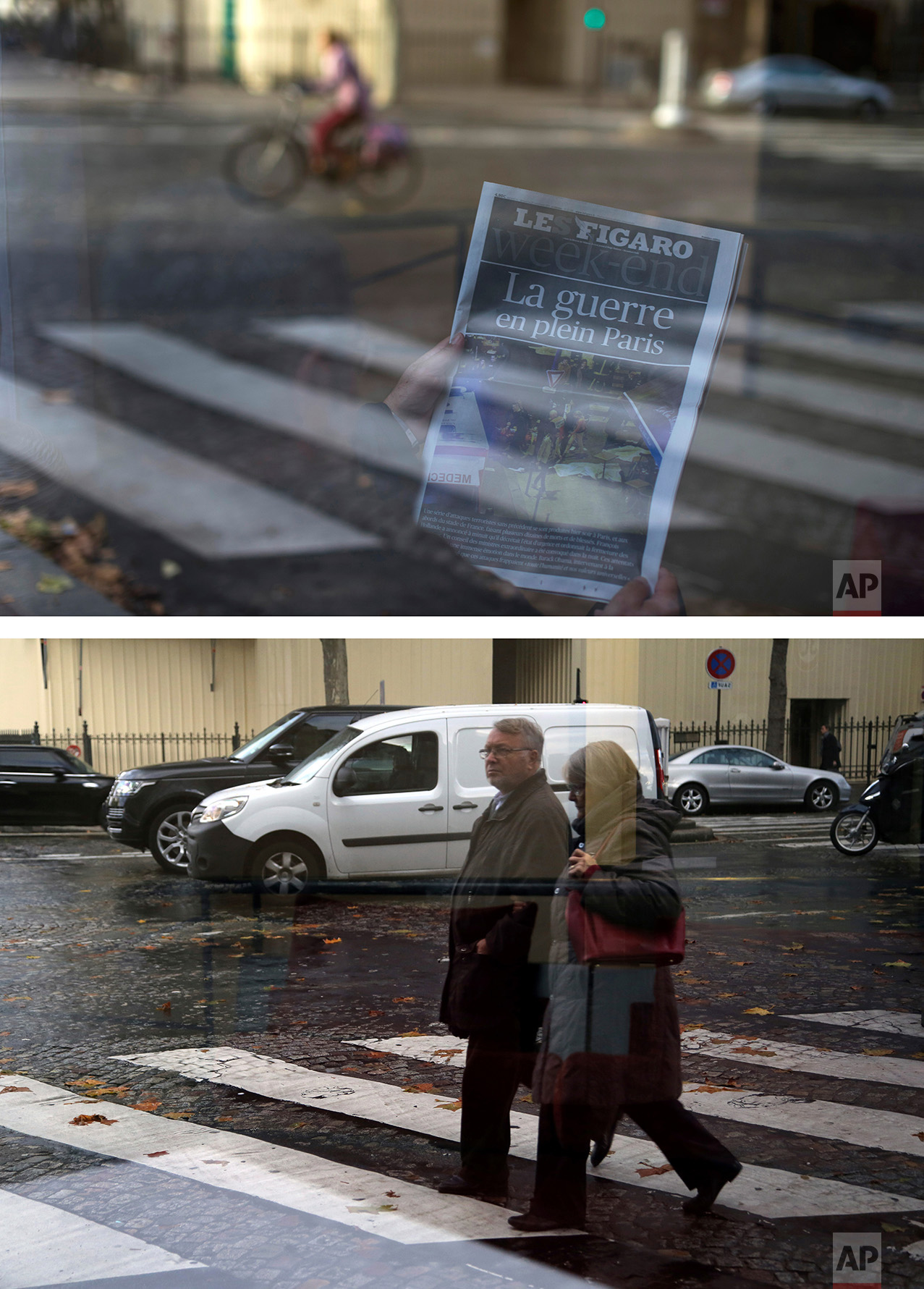 """This combination of two photos shows a Saturday, Nov. 14, 2015 photo, top, of a refelction of a man reading a newspaper with the headline: """"War in the Heart of Paris"""" in a hotel lobby in Paris, after the attacks on the city, and seen through the hotel window people walking along the zebra crossing, bottom, on Wednesday Nov. 9, 2016. (AP Photo/Peter Dejong, Thibault Camus)"""