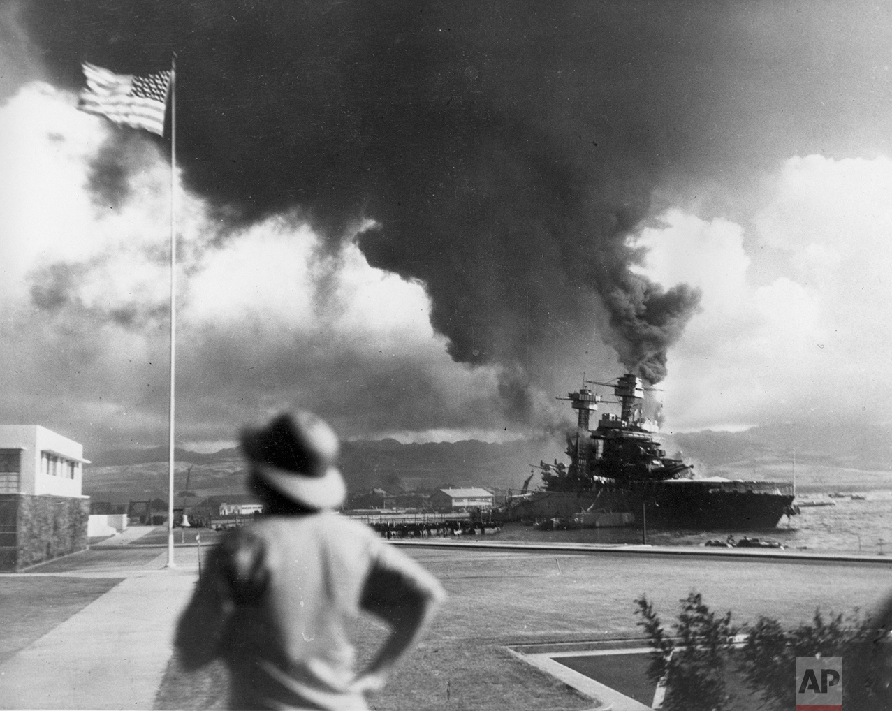 American ships burn during the Japanese attack on Pearl Harbor, Hawaii, on Dec. 7, 1942. (AP Photo)