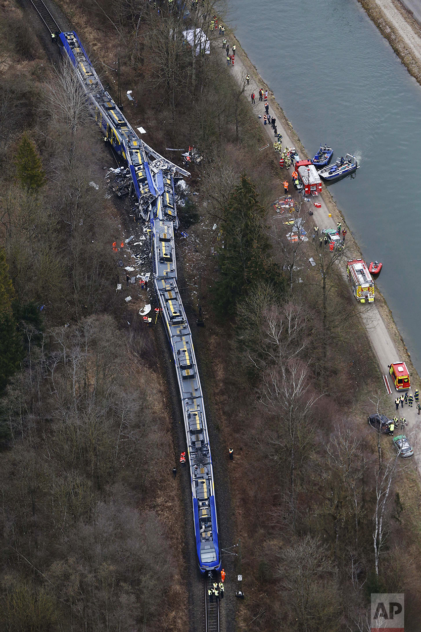 Aerial view of rescue teams at the site where two trains collided head-on near Bad Aibling, Germany, on Feb. 9, 2016. Several people were killed and dozens were injured in the crash. (AP Photo/Matthias Schrader)